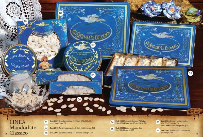 Stecche e torte di Mandorlato Classico nelle eleganti ed esclusive scatole di latta ed astucci di cartoncino di colore blu